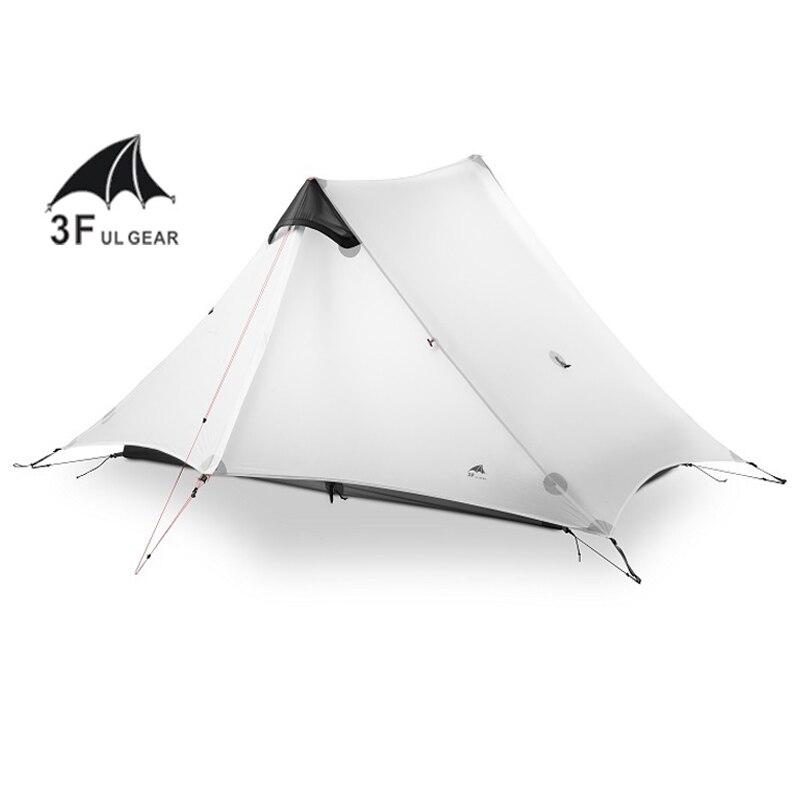 3F UL передач 2 людей Oudoor Сверхлегкий Палатка 3 сезон 1 один человек профессиональный 15D нейлон силиконовое покрытие бесштоковый палатка
