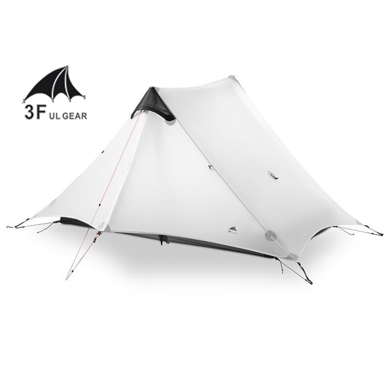 3F UL de 2 personas al aire libre ultraligero de la tienda de Camping 3 Temporada 1 persona profesional 15D de Nylon del revestimiento sin vástago tienda