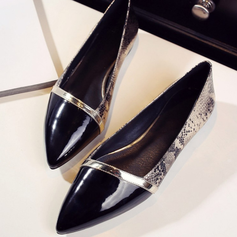 New Brand Spring Pointed Toe Ladies Shoes Fashion Snake Style Women Flats Casual Leather Shoes Woman Big Size 34-43 2017 new fashion spring ladies pointed toe shoes woman flats crystal diamond silver wedding shoes for bridal plus size hot sale