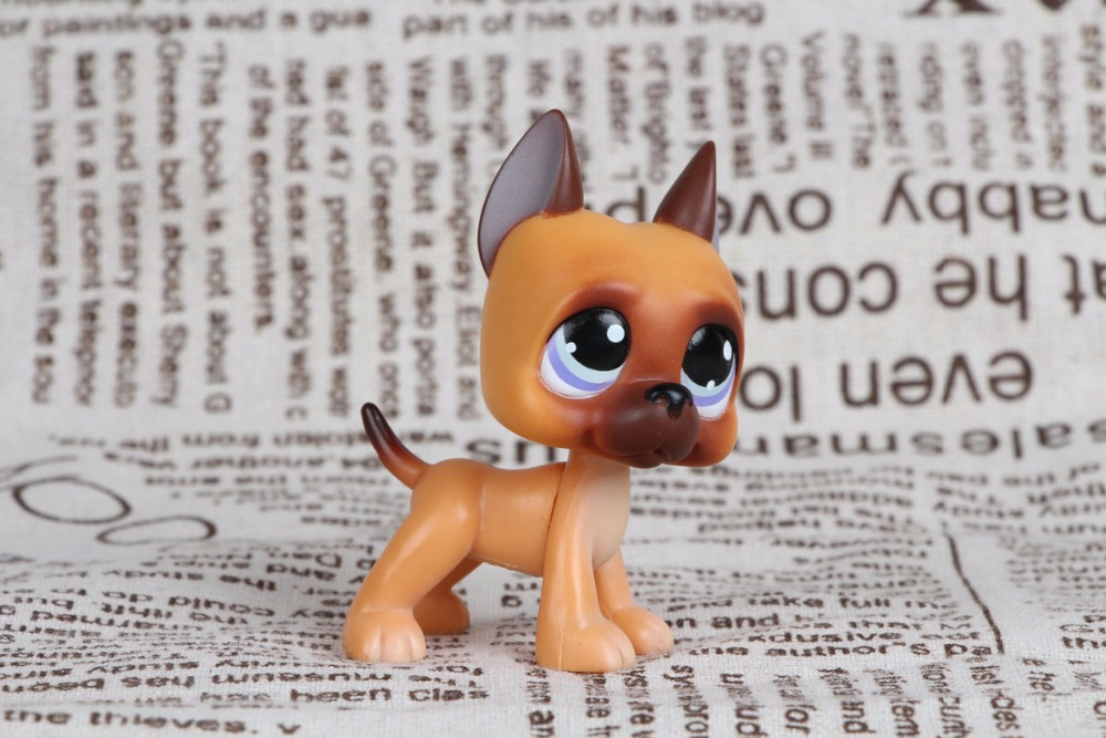 New pet Genuine Original LPS #244  Brown Great Dane Dog Puppy Purple Eyes Collection figure Toys цена и фото