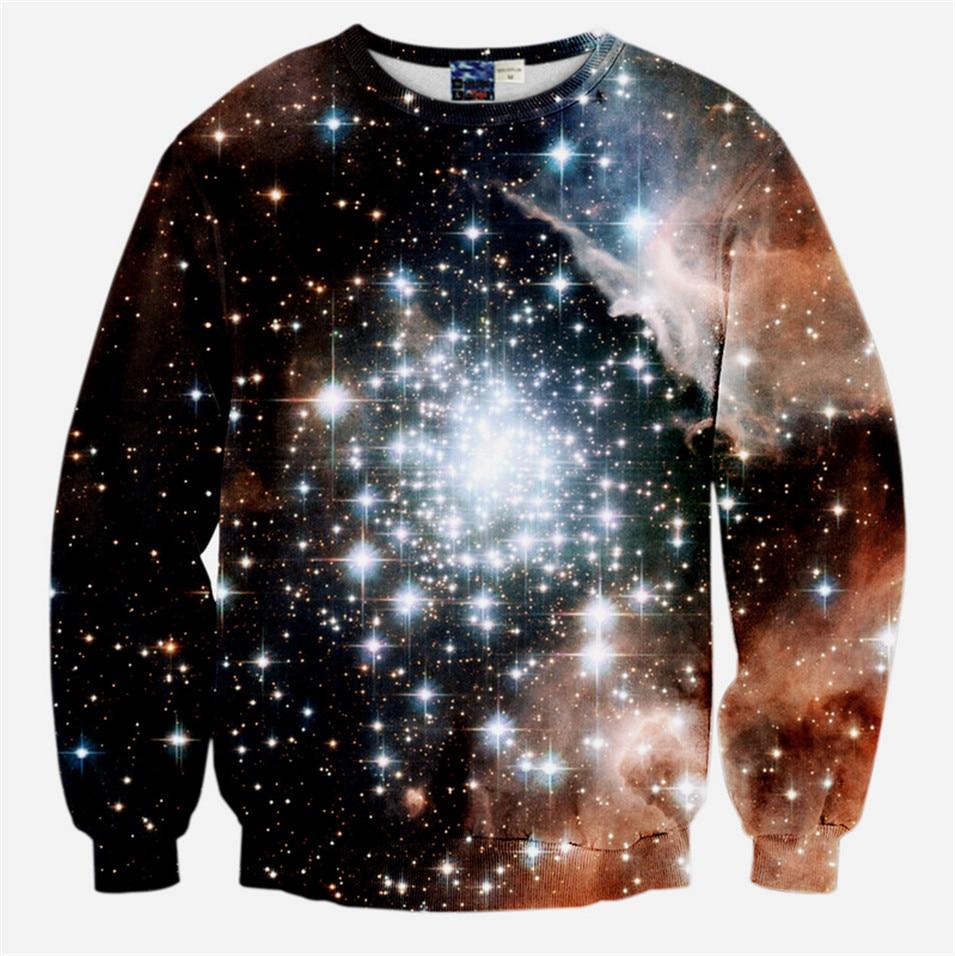 Design t shirt galaxy - 2017 Spring New Harajuku Sweatshirt Women Men Space Galaxy Printed Hoodies Casual Crewneck Pullover Tops