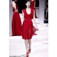 Элегантный Sexy Колен Пром Платья Темно Красный Пром Dress Кружева Ruched Шифон Вечерние Платья Партии Платья На Заказ