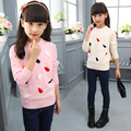 2016 Autumn Toddler Girls Leaf Shape Design Cotton Long Sleeve Pullovers Solid Pink/White Color Priincess Knitted Sweaters
