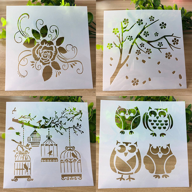 4 Types Owl Layering Stencils for DIY Scrapbooking Photo Album Decoration Cake Hollow Embellishment