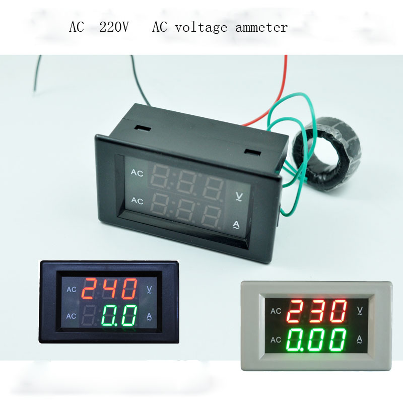AC 300V 10A Dual Digital Voltmeter Ammeter green + Red LED Amp Volt Meter Gauge with AC Current Transformer White