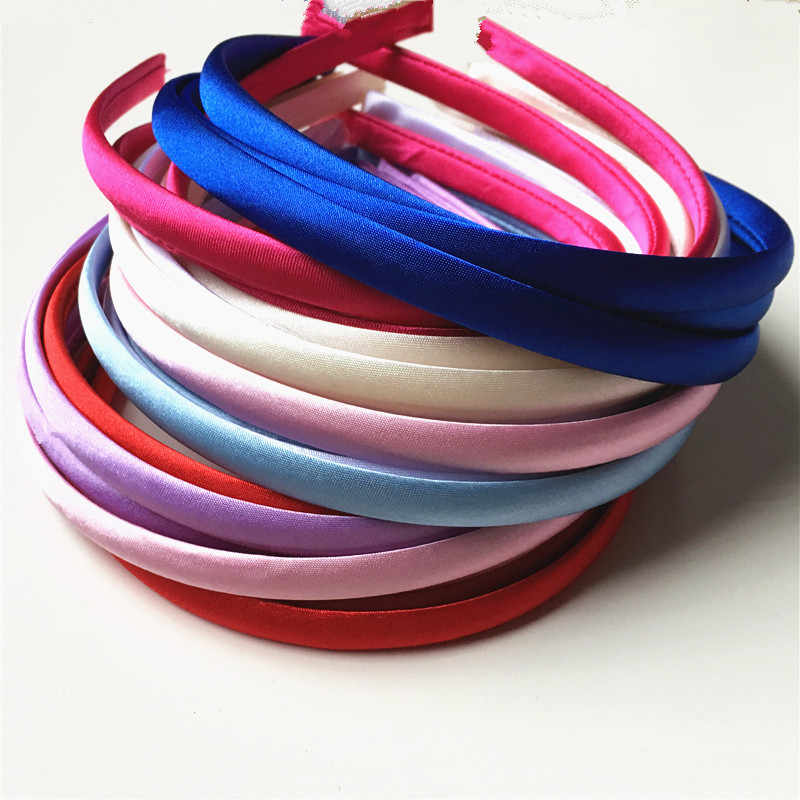 3pcs/lot 10mm Colored Satin Covered Resin Hairbands,For Children Solid Satin Hair Band DIY Headband,Satin Head Hoop