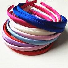 3 шт./партия, 10 мм цветная атласная повязка для волос, покрытая смоляной лентой, для детей, однотонный атлас, повязка на голову DIY, атласный наголовный обруч