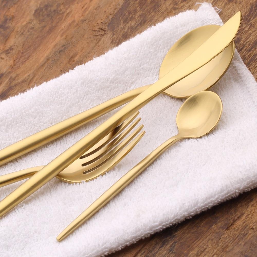 Lekoch gold flatware set stainless steel silverware golden cutlery sets dinner knife and fork - Knife and fork sets ...