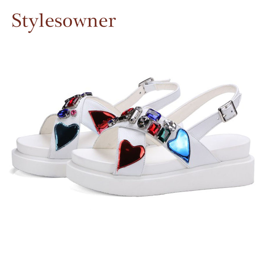 Stylesowner women genuine leather flat platform wedge heel sandals rhinestone decor back strap summer gladiator casual shoes rhinestone silver women sandals low heel summer shoes casual platform shiny gladiator sandal fashion casual sapato femimino hot