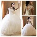 2015 Branco vestido de Baile Vestidos Quinceanera Doce 15 Anos Vestido Cap Mangas de Cristal Pedrinhas Prom Party Dress Vestido de Debutante