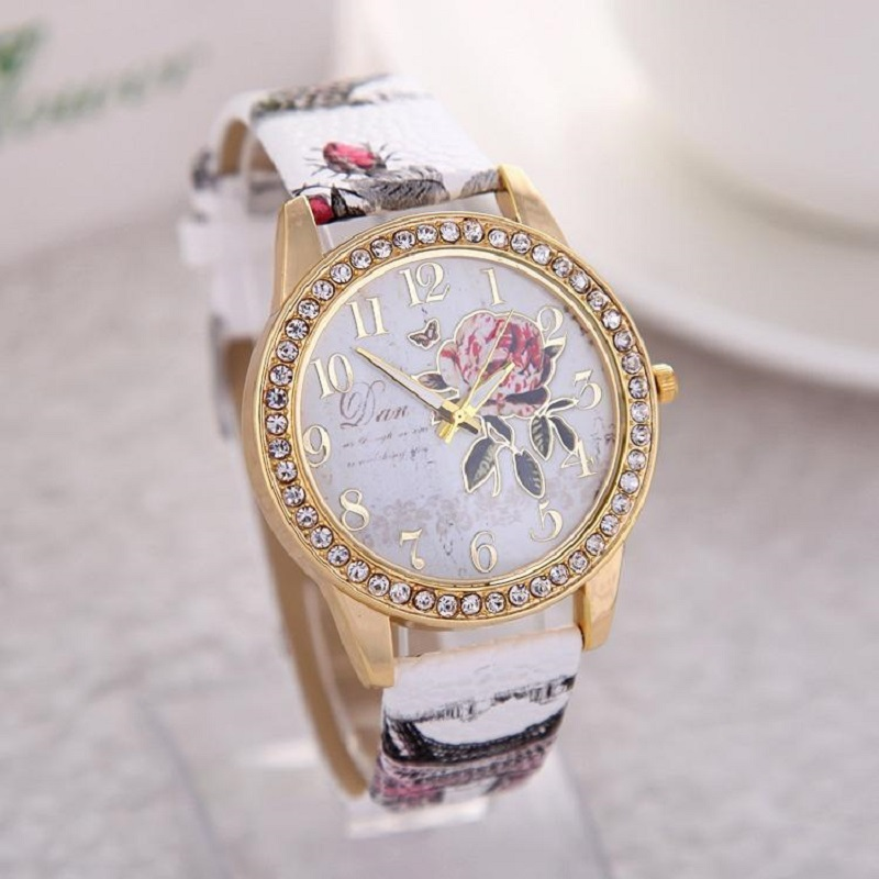 Reloj Mujer Women Watch Rose Flower Pattern Dial Womens Wrist Watches Leather Graffiti Strap Ladies Clock Relogio Feminino