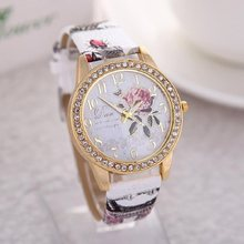 reloj mujer Women Watch Rose Flower Pattern Dial Womens Wrist Watches Leather Graffiti Strap Ladies Clock relogio feminino(China)