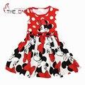2016 2-6 T Meninas Verão Minnie Vestidos de Impressão Crianças Menina Vestido de Verão Vestidos de Algodão Sem Mangas Arco Moda T373