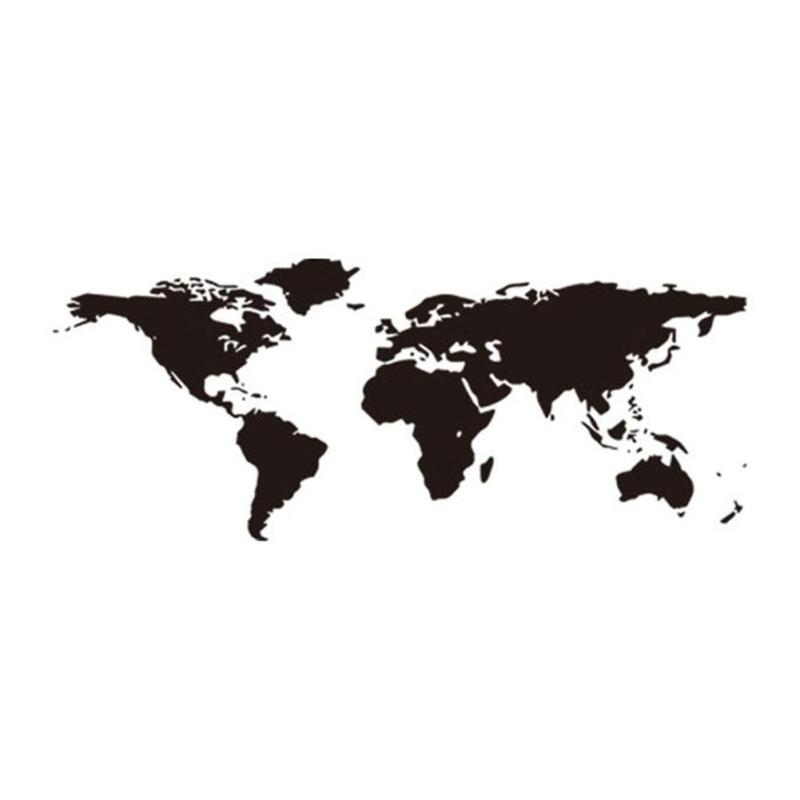 105 43cm large black world map wall stickers hall office for Black and white world map wall mural