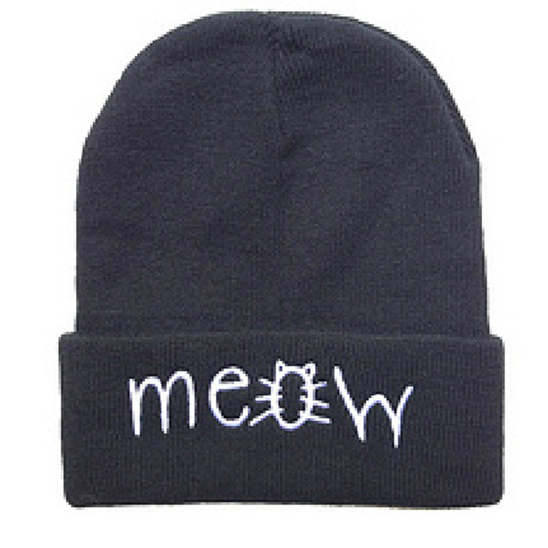 Casual MEOW Warm Winter Hat for Women Fashion Hip-Hop Men Hats Knitted Wool Skullies Beanies Hat For Girl boys Gorros Hombre new gorros 2017 fashion casual men skullies beanies winter hats keep warm women knitted stripe hat warm baggy balaclava caps
