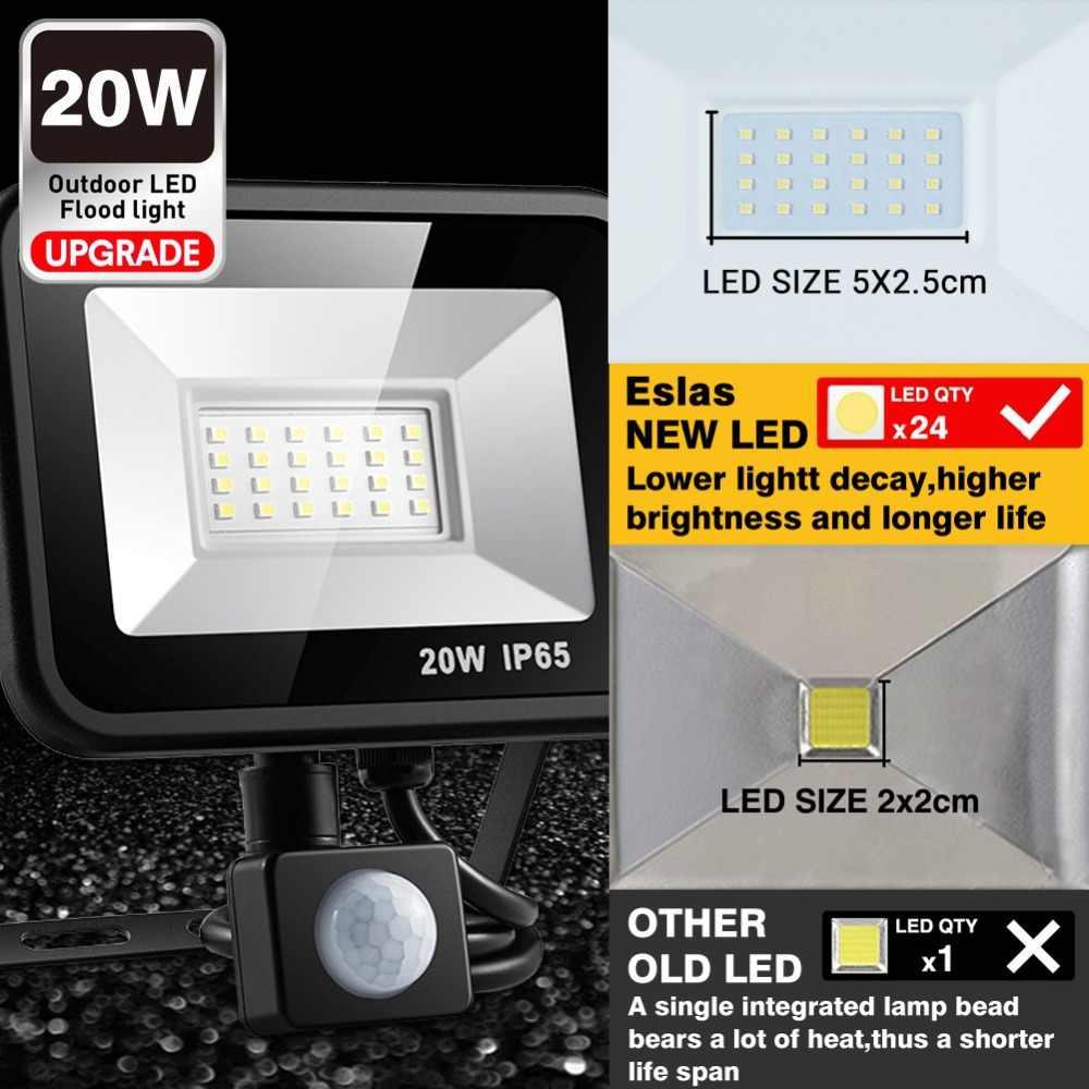 Eslas Ngoài Trời Pha 10W 20W Refletor ĐÈN LED Đèn Pha Tìm Kiếm Với Cảm Biến Chuyển Động Cảm Biến 220V Chống Nước Treo Tường nhà để xe Ánh Sáng