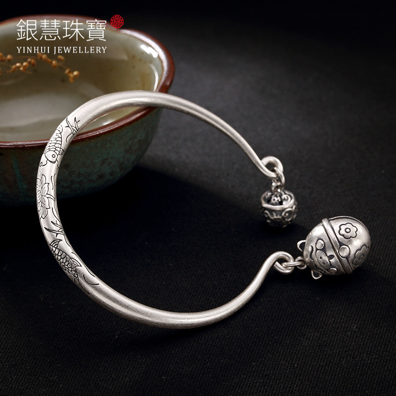 Silver Pisces Show Lotus Lucky Pig Sterling Silver Bell Open Lady Style Ways Bracelet Wholesale s999 fine silver lotus pisces play lady bracelet wholesale sterling silver folk style ways openings
