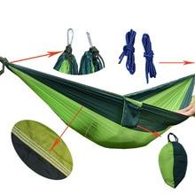 shihao Portable Nylon Parachute Double Hammock Garden Outdoor Camping Travel Furniture Survival Hammock Swing Sleeping Bed Tools