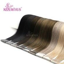 K.S парики 16 ''20'' 24 ''прямые волосы Реми двойной нарисованной ПУ кожи уток ручной привязанной ленты в человеческих наращивания 80 шт