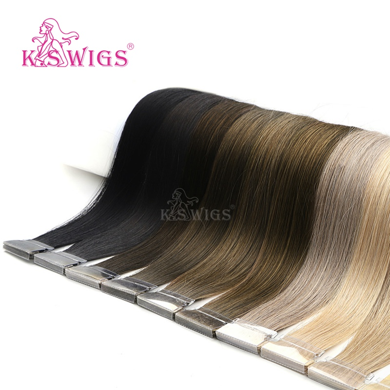 K.S WIGS 16'' 20'' 24'' Straight Remy Hair Double Drawn PU Skin Weft Hand Tied Tape In Human Extensions 80pcs