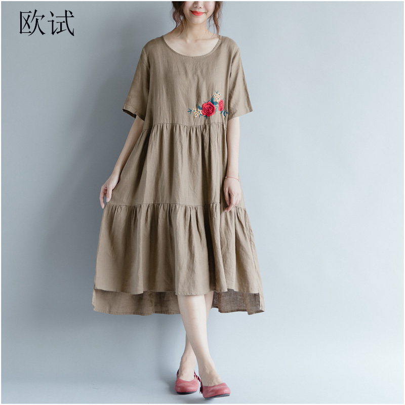 64834e5e307 Womens Summer 2019 Fashion Pleated Dress Women Stitching Floral Embroidery Casual  Dresses Plus Size Loose Cotton
