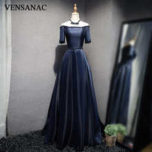 VENSANAC 2018 Pearls Boat Neck Crystal Sash Long Evening Dresses Party A Line Beading Satin Backless Prom Gowns