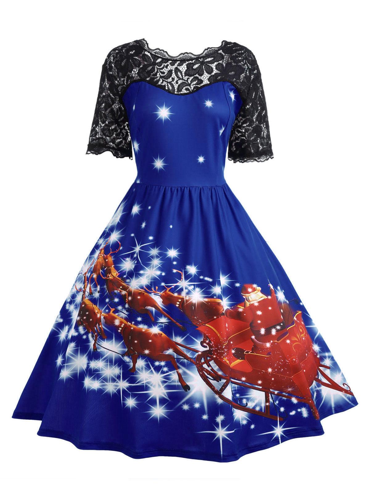 7033ad526f Gamiss Women Christmas Lace Panel Father Midi Party Dress Ladies Autumn  Vintage Insert Robe Femme Plus Size 5XL 4XL Vestidos