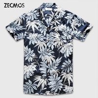 Zecmos Men Hawaiian Short Sleeve Shirt Male Blue Printed Casual Shirts Floral Clothes