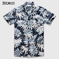 Zecmos Uomini Hawaiian Manica Corta Camicia Maschile di Lusso Fiore Floreale Stampato Camicia Casual Vestiti 2017 di Estate Del Cotone Aloha