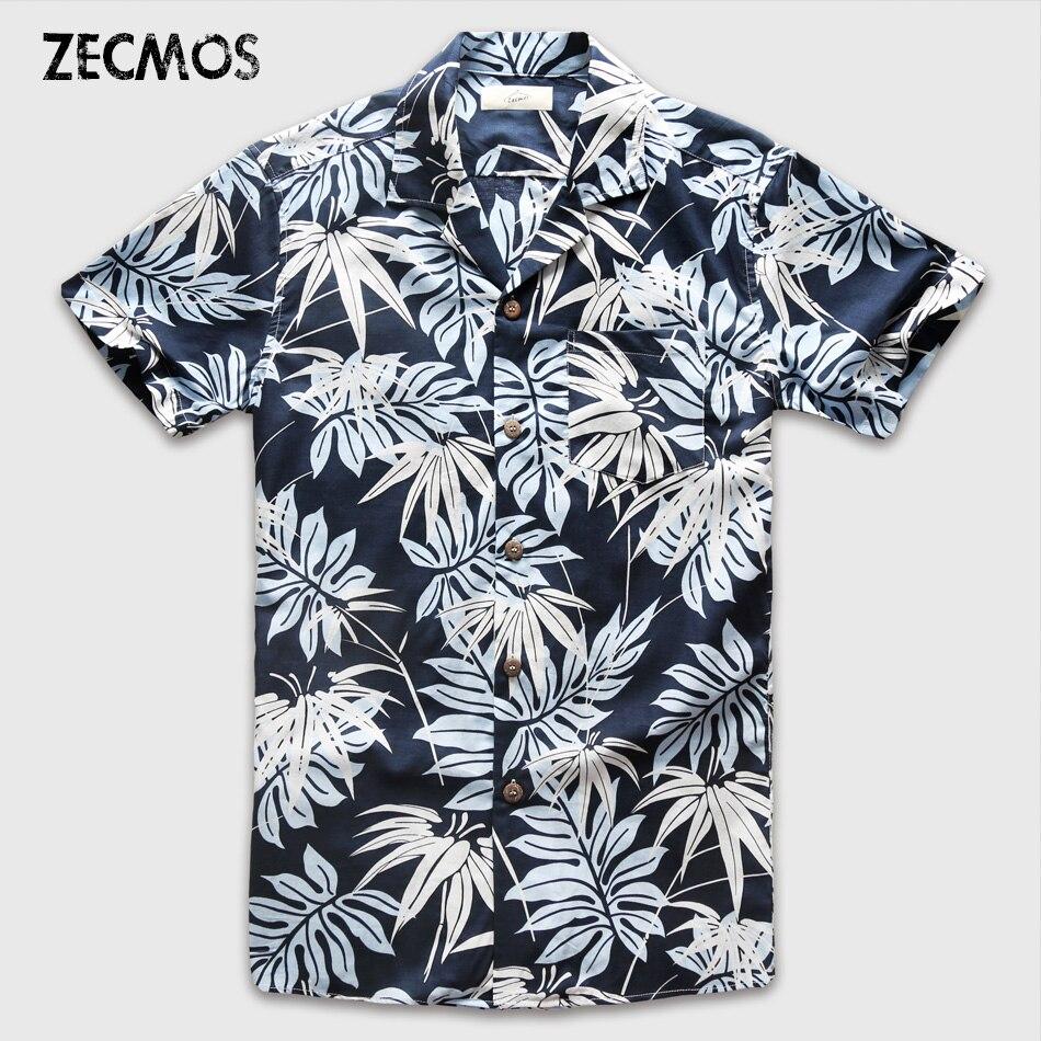 Zecmos Men Hawaiian Short Sleeve Shirt Male Luxury Cotton Aloha Flower Floral Printed Casual Shirt Clothes 2017 Summer