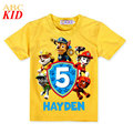 Summer New Arrival Girls Tops Puppy Patrol Pattern Tees Kids Girls Boys T Shirt Short Sleeve Shirts Yellow Cotton Clothes KD204