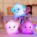 Creativo Colorido Intermitente Brinquedo Menina 35 cm Estrella LED Luminoso Almohada Cojín Suave Relajarse Estrella Niños Almohada Juguetes para Los Niños