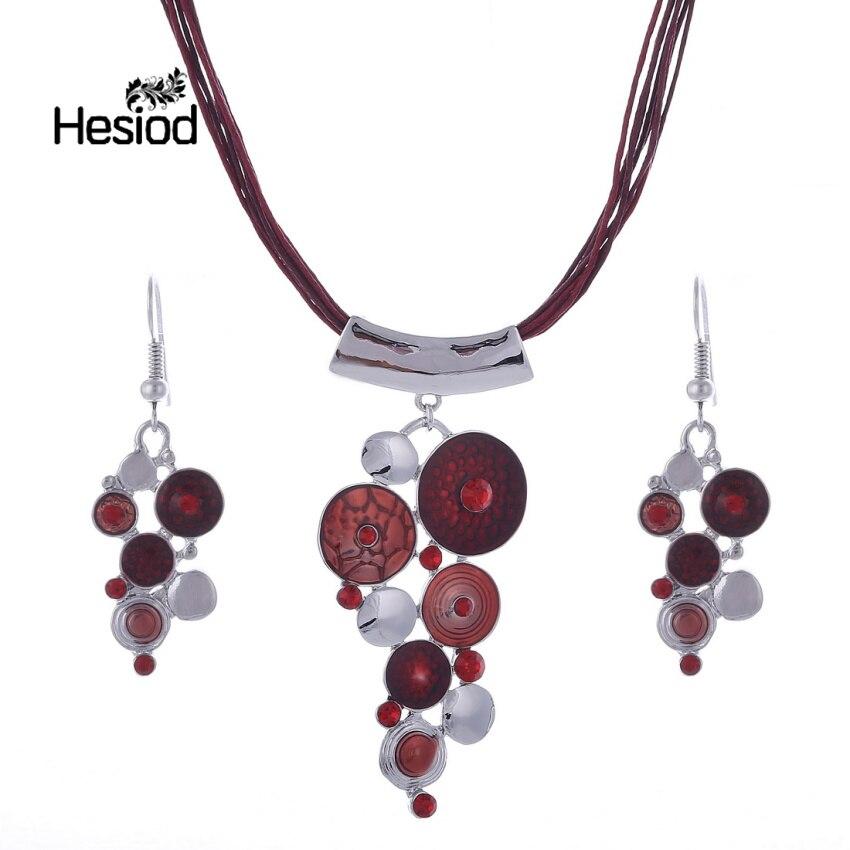 de619c3cda7f Hesiod lujo círculo declaración collar pendientes mujer cristal aceite  Color cuerda de cuero joyería de moda al por mayor mejor regalo