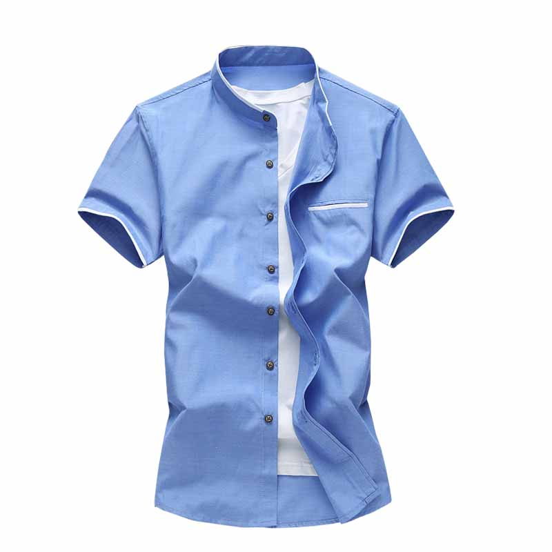 Summer New Men Casual Shirt Men Short Sleeve Shirt Solid Mandarin Collar Oxford Shirts P ...