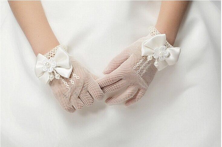 Kid Princess Gloves FlowerGirl Short Gloves With Satin Bow Stretch Mesh GlovesHG