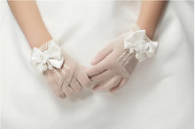 High Quality White Cream Stretch Mesh Princess gloves with satin bows