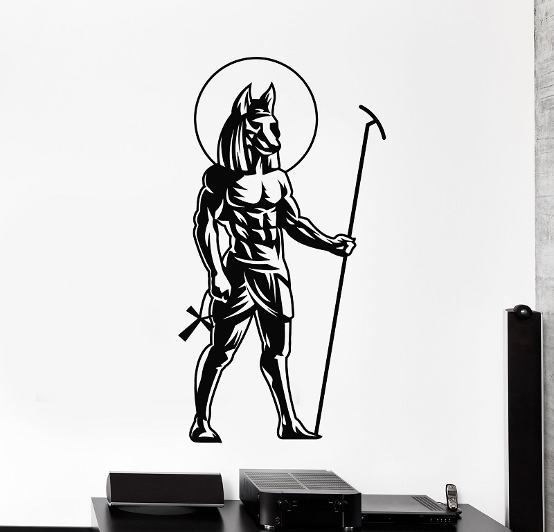 Image 1 - Vinyl wall applique ancient Egyptian god Anubis Egyptian decorative stickers home decor living room bedroom wall stickers 2AJ11-in Wall Stickers from Home & Garden