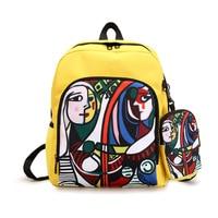 Mori girl shoulder bag retro oil painting female Harajuku ulzzang literary campus fresh fashion casual hip hop backpack