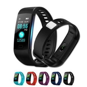Image 1 - Akıllı Bant Y5 Kalp Hızı Kan Basıncı Monitör Yüksek Fitenss Tracker Renkli Ekran akıllı bilezik Bileklik erkekler için android