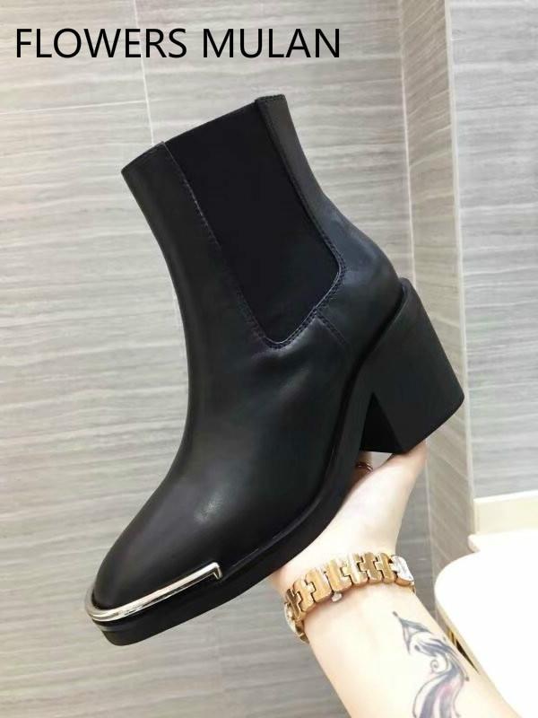 2f0e33527 Las As Mujeres Real Martin Botas Negro Del De Señoras Resbalón Hierro  Invierno Zapatos En Metálico Mujer Show Talón Cuero Dedo Medio Pie Tobillo  qw1IOv