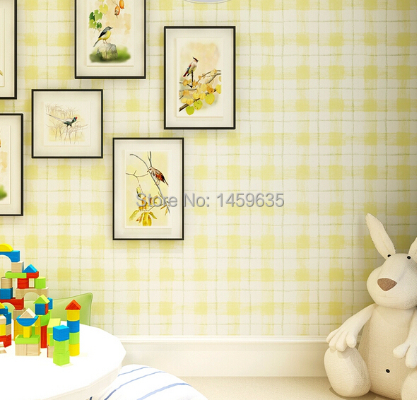 Non-woven wallpaper bedroom wallpaper backdrop plaid boy female children's room wall paper