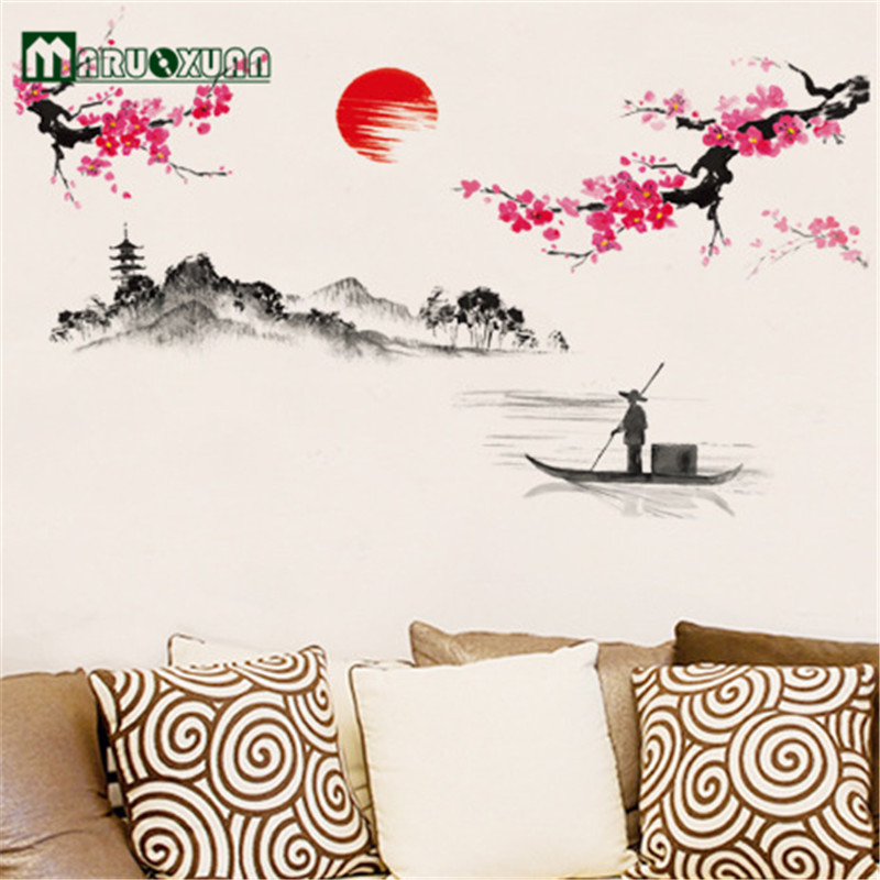 Hot Sun Plum Flower Decoration On The Wall The Sitting Room The Bedroom Wall Stick Tv Setting Wall Stickers ...