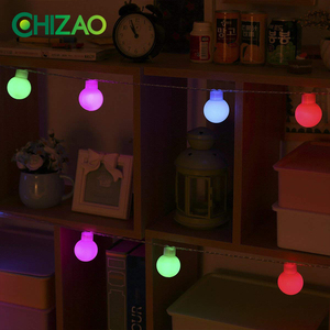 CHIZAO LED Holiday Multi-color Ball String Light Solar Power Waterproof IP65 for House Party Garden Tree Fence Decor wreath