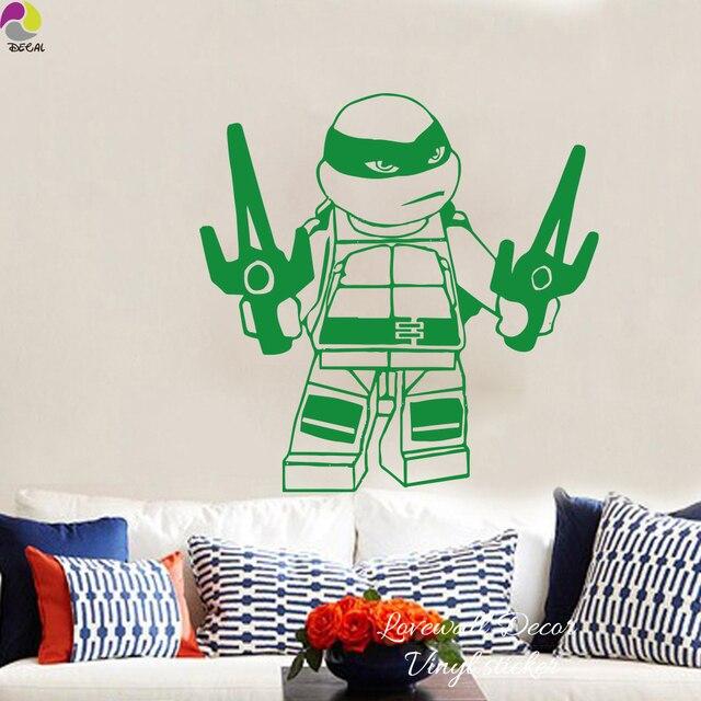 Cartoon Lego Ninja Turtle Weapon Wall Sticker Boys Room Baby - Ninja turtle wall decals