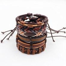 MJARTORIA 6PCs/Set Genuine Leather Bracelets Set For Men Braided Bracelets & Bangles Wrap Bracelets Vintage Punk Casual Jewelry