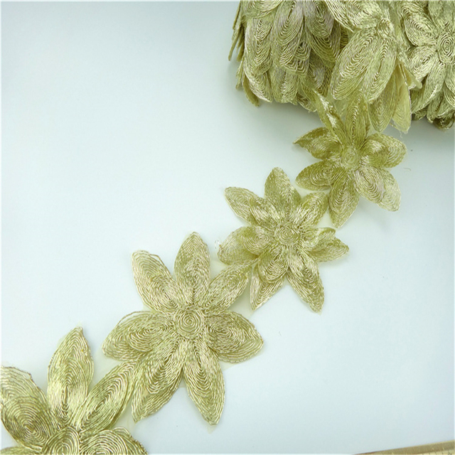 Wholesale cheap lace flowers embroidery metallic gold