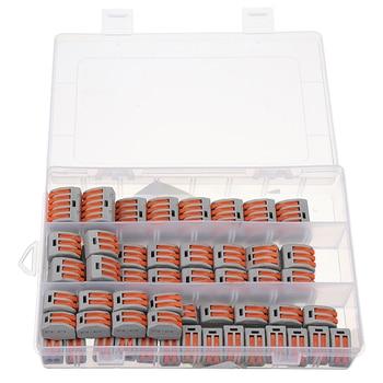 60 piezas 2/3/5 Pin jaula agujeros primavera bloque de terminales Cable eléctrico Universal conector rápido