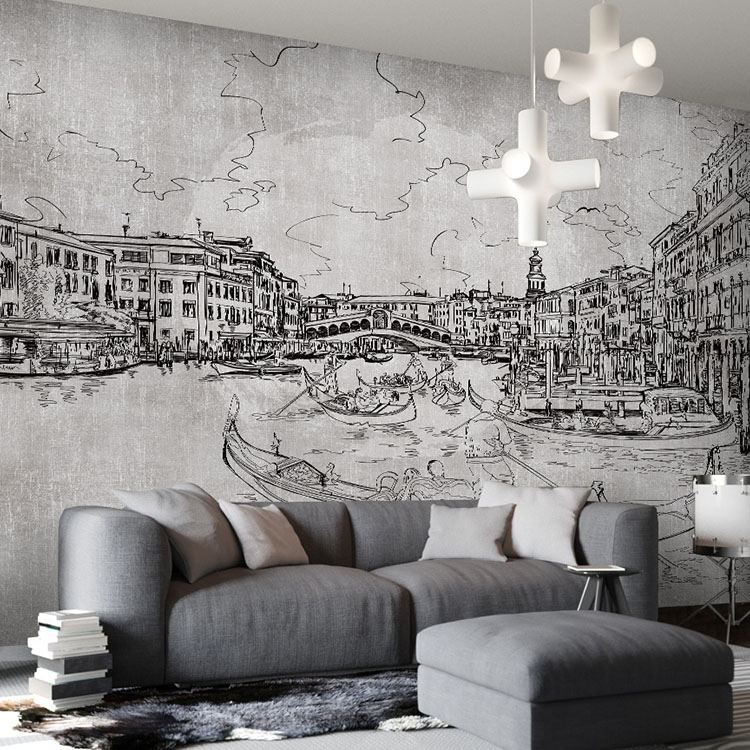 Custom photo black and white graffiti mural painting and for Black and white tree wall mural