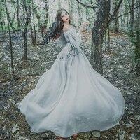 Women Victorian Long Dress New Gray Chiffon Bubble Lantern Sleeves Gothic Medieval Renaissance Princess Costume Marie