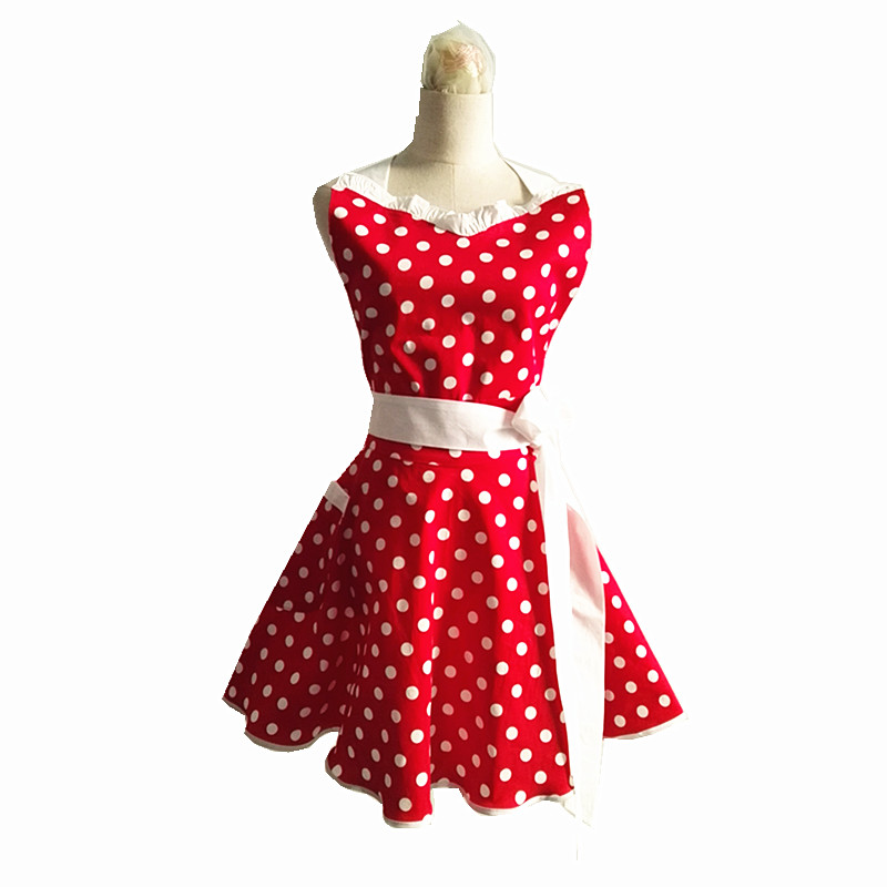 Retro Kitchen Aprons: New Lovely Sweetheart Red Retro Kitchen Aprons Woman Girl